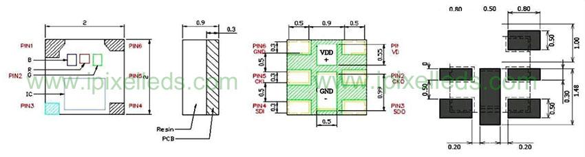 SMD 2020 RGB Addressable LED APA102-2020-256-8